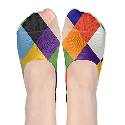 Colorful Lozenge Elements DIY Printed Pattern Soft Low Cut Socks No-show Liner Invisible Polyester Cotton Sock For Girls (One Pair)