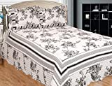 Patch Magic Past and Present 3-Piece Quilt Set Queen, Floral, Black N White