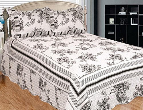 Patch Magic Past and Present 3-Piece Quilt Set Queen, Floral, Black N White - Black And White Toile Bedding