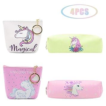 JUSTIDEA 2 mágico monedero unicornio de 2 unicornio estuche de lápices para niños bolsa de herramientas de maquillaje bolsa de almacenamiento para ...