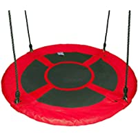"Gaorui 100cm 40"" Tree Swing Spinner Kids Swing Seat Saucer Nest Swing Round Ring Large Tire Swing – 200 KG Weight Capacity, Fully Assembled, Easy to Install Red"