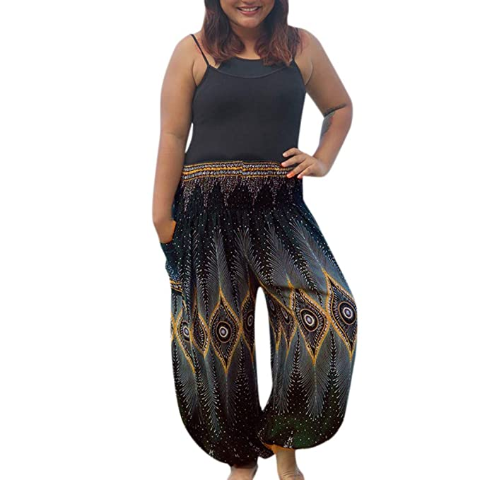 TUDUZ Mujer Pantalones Boho Flojo Ocasional Hippy Yoga ...