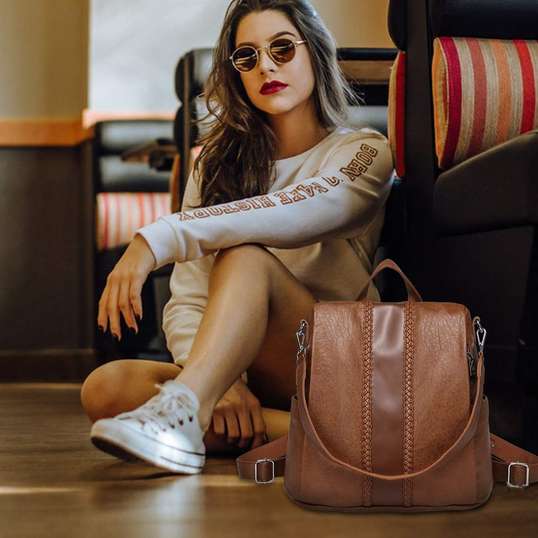 Backpack Purse for Women,VASCHY Fashion Faux Leather Convertible Anti-theft Backpack for Ladies with Vintage Weave Brown by VASCHY (Image #7)
