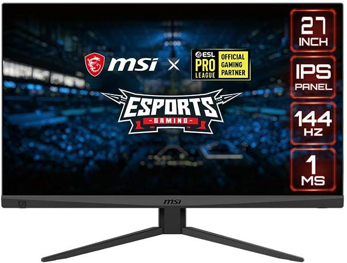 "MSI Full HD Gaming Non-Glare Super Narrow Bezel 1ms 1920 x 1080 144Hz Refresh Rate Adjustable Height Arm FreeSync 27"" IPS Gaming Monitor (Optix MAG274)"