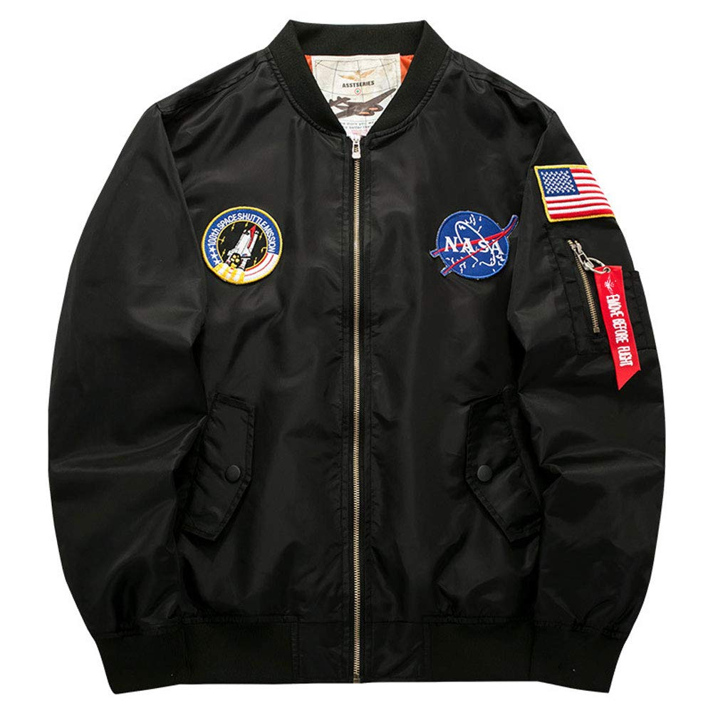 Honiee Mens Bomber Flight Jacket with Patches Black