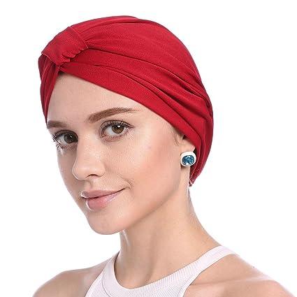 Cappello chemoschiotto per donna Cappelli Turbanti Cappello tinta unita  cinturino elastico per capelli semplice Chemioterapia Cappello cappelli  Cuffie ... 2d10517cc193