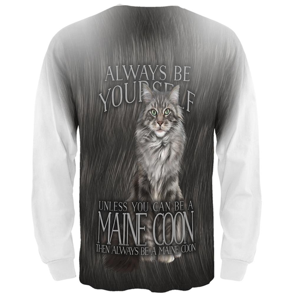 Always Be Yourself Unless Maine Coon Cat All Over Mens Long Sleeve T Shirt