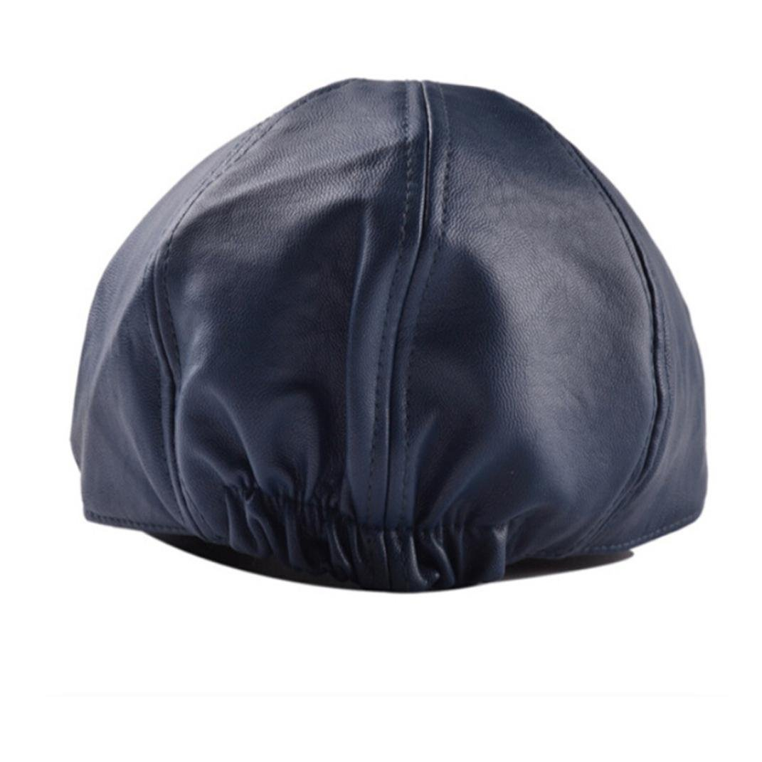 HARRYSTORE Mens Women Vintage Leather Beret Cap Flat Cap Peaked Hat Newsboy Stretch