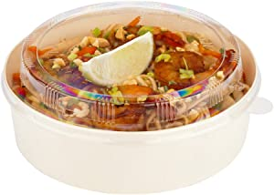 Taipei Fits 16/34 Ounce Lids For Compostable Food Containers, 100 Round Take Out Container Lids - With Tab, Recyclable, Clear Plastic To Go Box Lids, Disposable - Restaurantware