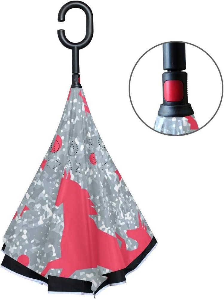 ATONO Unicorns And Silver Glitter Texture Double Layer Inverted Reverse Folding Stick Umbrellas Windproof Anti-UV C-Shaped Handle for Car Rain Outdoor