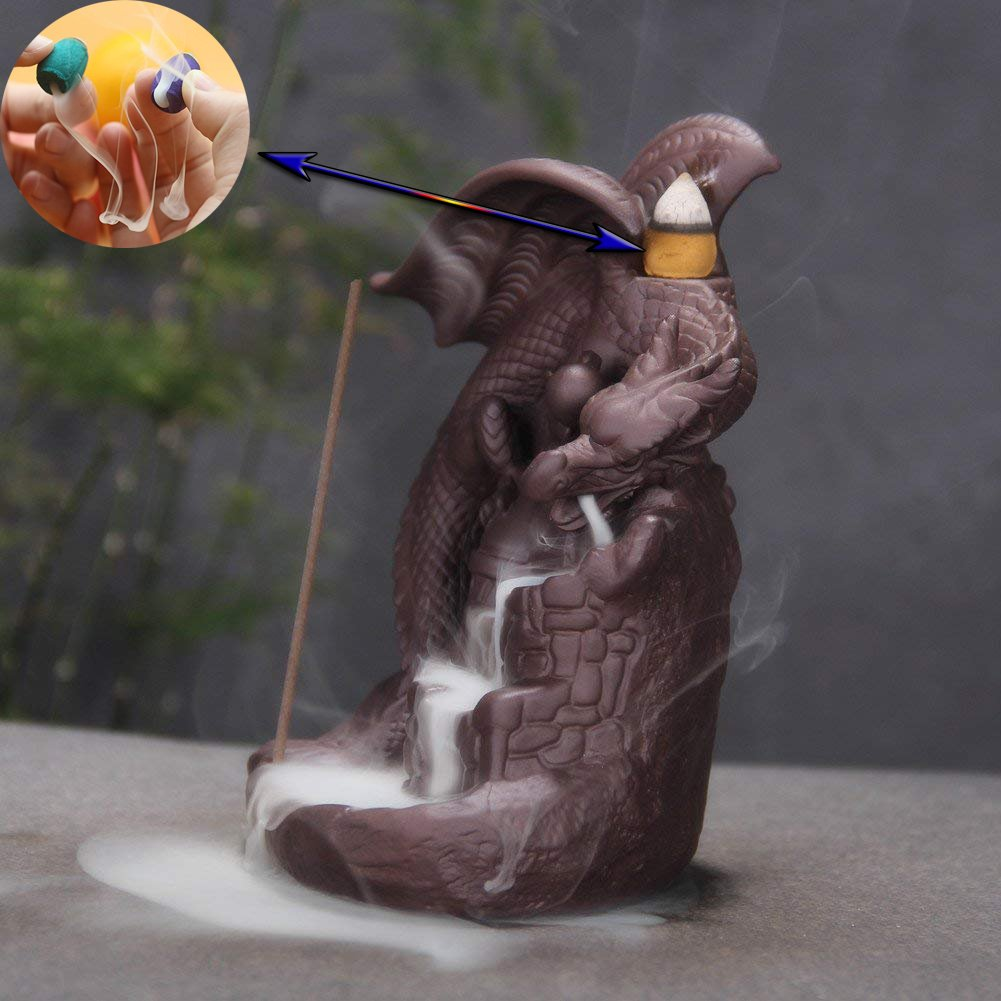 OTOFY Handmade Ceramic Incense Holder, Backflow Incense Burner Figurine Incense Cone Holders Home Decor Gift Decorations Statue Ornaments (Fly Dragon) by OTOFY (Image #5)