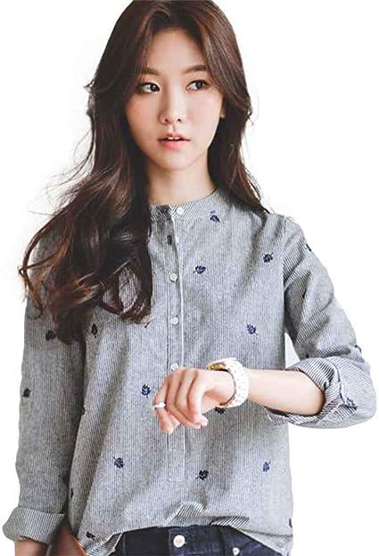 Blusas Mujer Verano Oficina Empleado Elegantes Moda Blusa Top Tops Sencillos Moda Joven Pin-Up Anchos Casual Camisas Manga Larga Patrón Impreso Camicia Bluse Estilo: Amazon.es: Ropa y accesorios