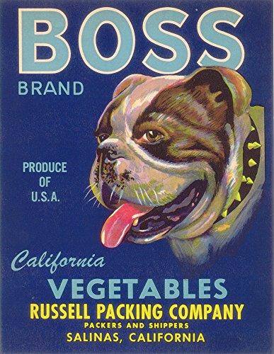 - Boss Bulldog Vegetable - Vintage Crate Label (9x12 Fine Art Print, Home Wall Decor Artwork Poster)