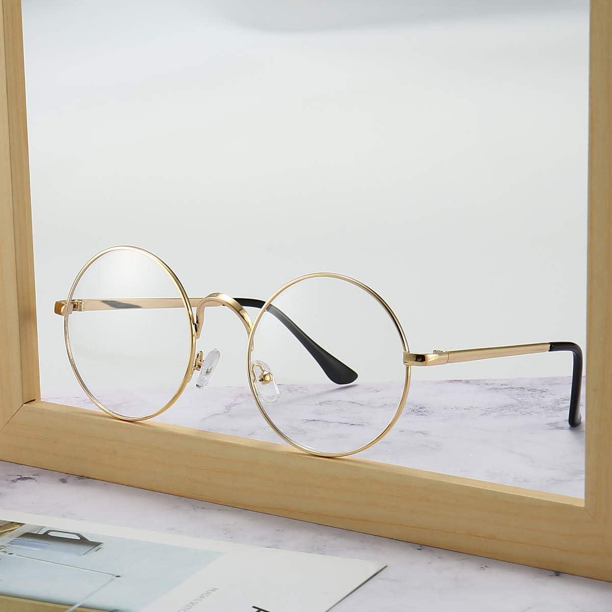 Round Glasses Retro Metal Frame Eyewear Clear Lens glasses for Unisex Men Women