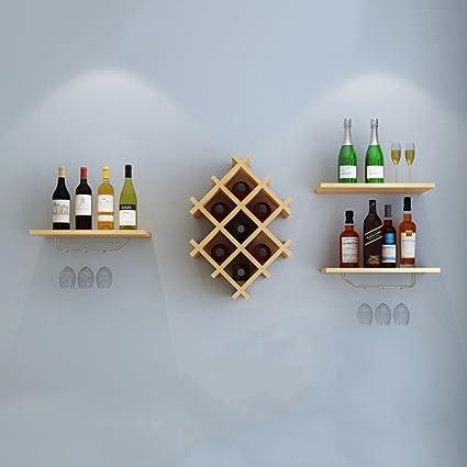 Colgante de Pared de Madera del Estante del Vino Pared Minimalista Moderna de la Bodega Decorada