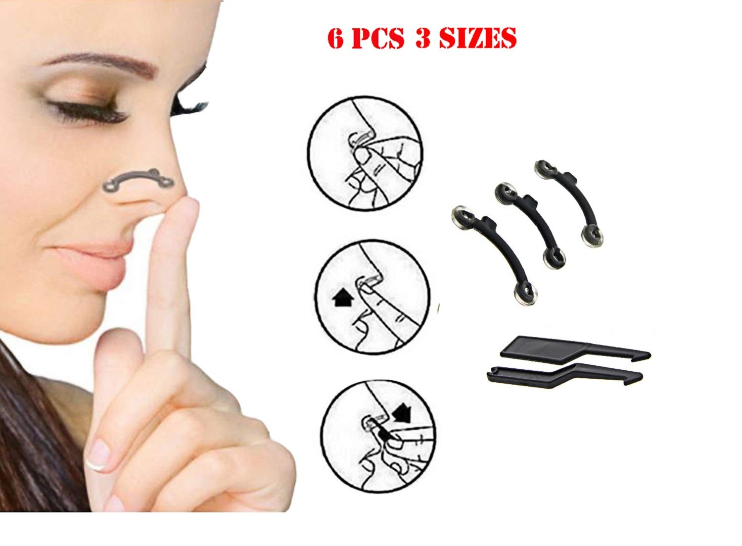 6PCS/Set 3 Sizes Beauty Nose Up Lifting Bridge Shaper Massage Tool No Pain Nose Shaping Clip Clipper Women Girl Massager by AdvancedShop