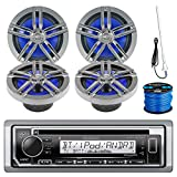 "Kenwood KMR-D365BT Marine Boat Outdoor Bluetooth CD MP3 USB/AUX iPod iPhone Stereo Receiver 4X 6.5"" Inch Dual Cone Enrock Marine Waterproof Speakers 50 Ft Marine Speaker Wire + Antenna (Black/Chrome)"