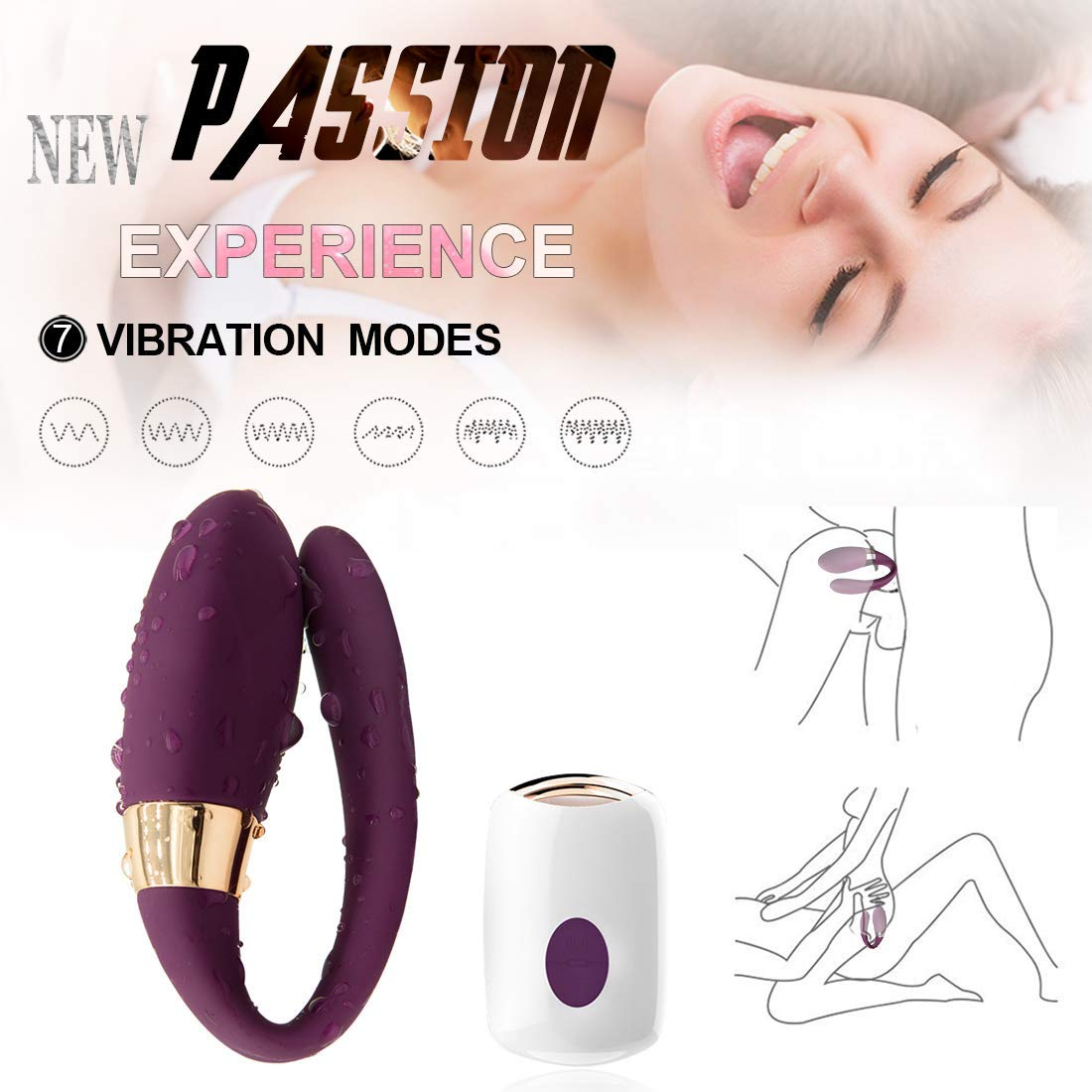 Wireless Remote Control Rechargeable Mini Finger Massager with Strong Patterns Handsfree Waterproof Massager Wand (U Shape) Purple