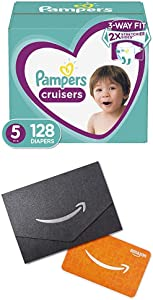 Diapers Size 5, 128 Count (2) - Pampers Cruisers Disposable Baby Diapers, ONE Month Supply and $20 Gift Card