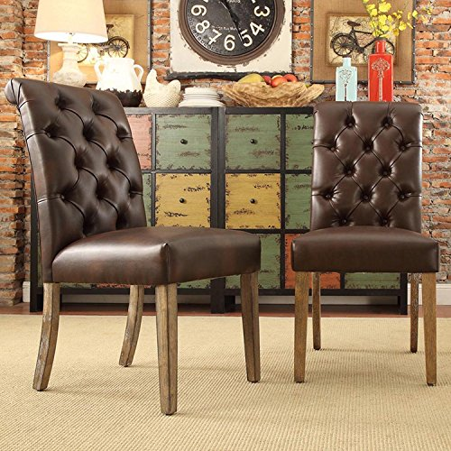 ModHaus Modern Brown Bonded Leather Button Tufted Parsons Style Dining Chairs | (Designer Style Leather Loveseat)