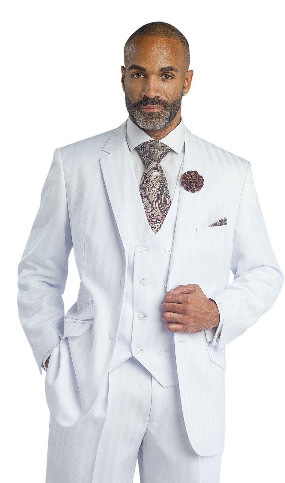 EJ Groomsmen White On White 3 Piece Mens Suits M2687 Suit For Men (40 R) Pants Vest Jacket