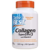Doctor's Best Collagen Types 1 & 3 with Vitamin C, Non-GMO, Gluten Free, Soy Free, Supports Hair, Skin, Nails, Tendons & Bones, 500 mg, 240 Caps (DRB-00263)