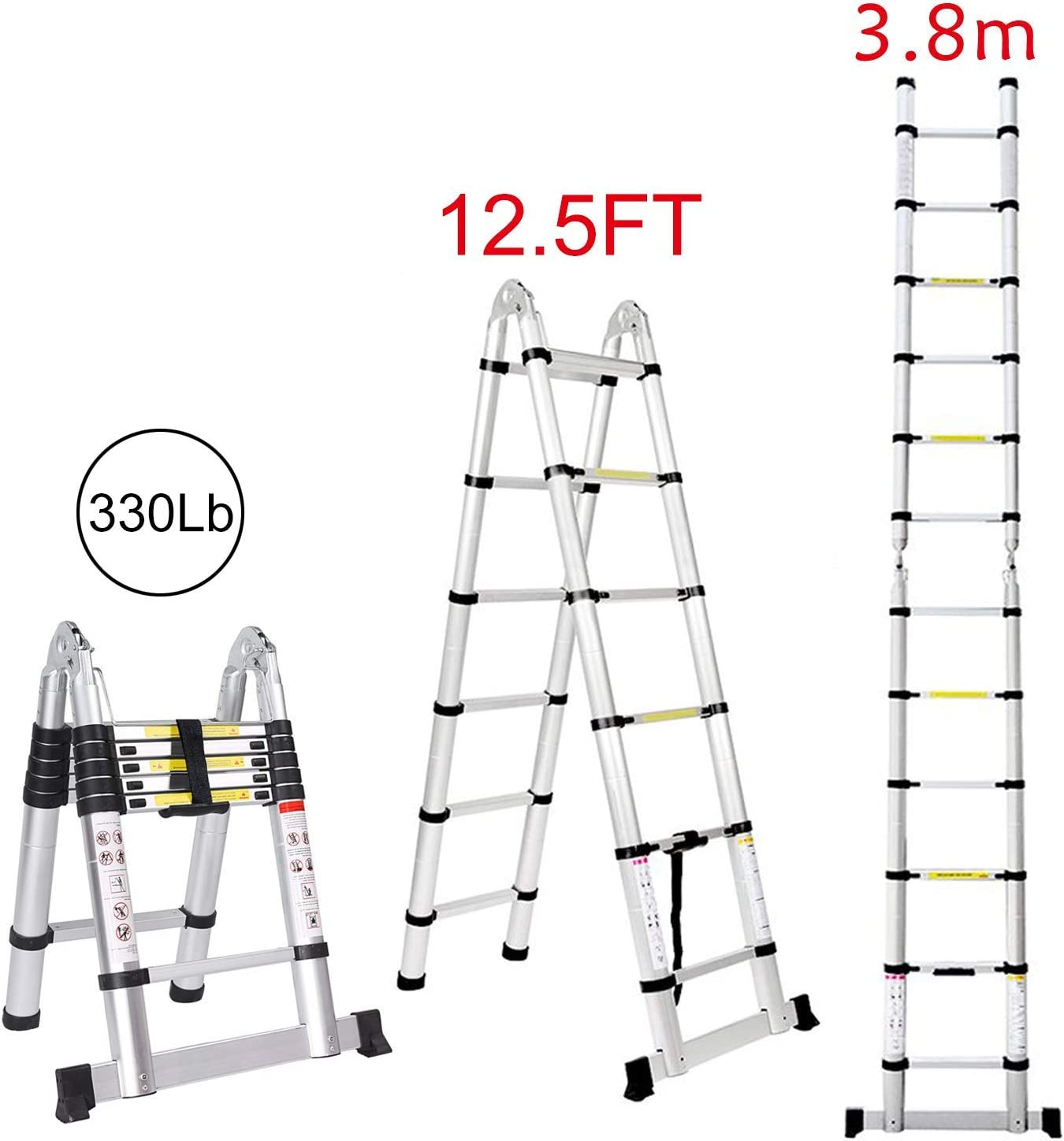 Jiahe12.5FT/3.8M Aluminum Telescoping Extension Ladder Portable Multi-Purpose Folding A-Frame Ladder with Hinges
