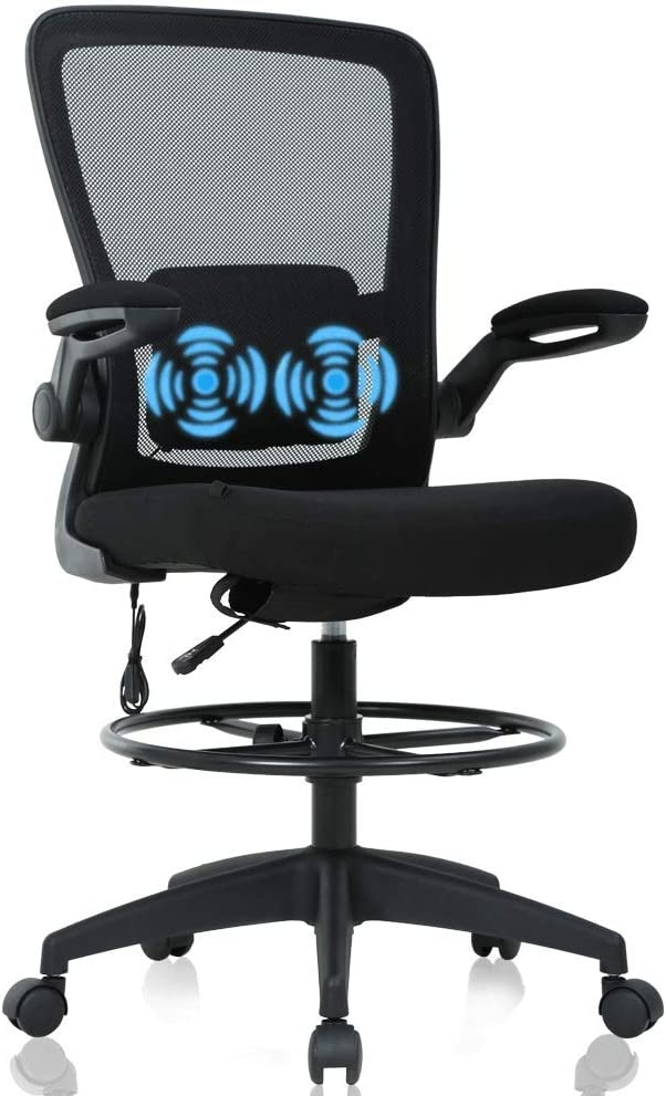 Drafting Chair Tall Office Chair Ergonomic Computer Desk Mid Back Mesh Chair with Lumbar Support & Foot Ring Height Adjustable Rolling Swivel Drafting Stool Task Executive Chair for Standing Desk