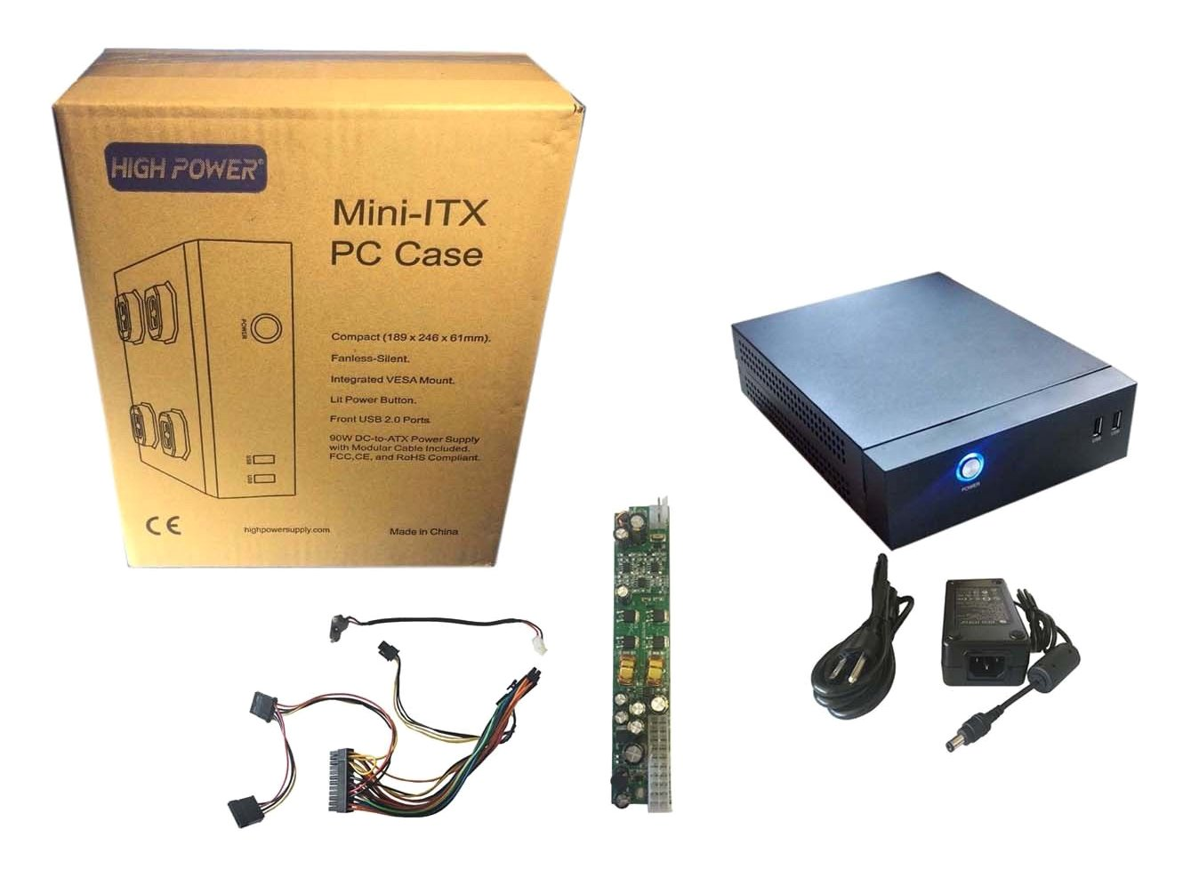 HIGH Power mITX-0DB Fanless Mini ITX Desktop/Tower/VESA-Mount PC System Case Kit, Black by HIGH POWER (Image #1)