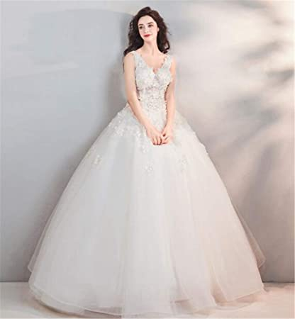 Lyjfsz 7 Mode Elegante Dame Europeenne Reve Ronde Robe De Mariee De Style Princesse Blanc Amazon Fr Sports Et Loisirs