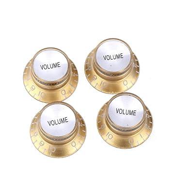 3 Gold-Silver Reflector Cap Knobs 1 Vol 2 Tone Epiphone Top Hat Bell Les Paul Sg