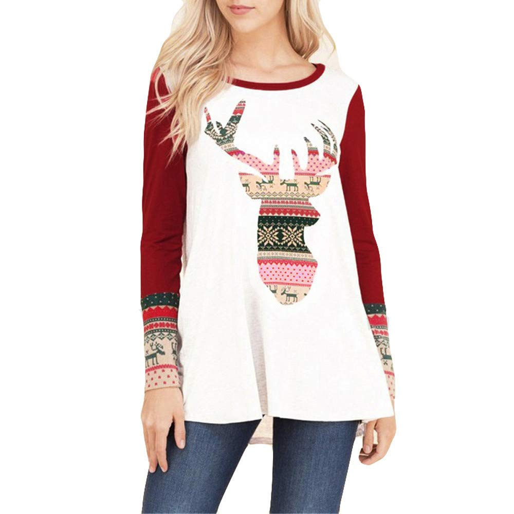 Clearance Women Sweaters Pullover Christmas Elk Print O-Collar Long Sleeve Top Blouse Shirt (XL(US:10, Red)