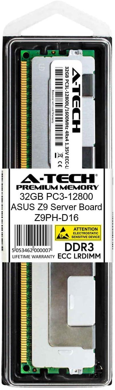 A-Tech 32GB Module for ASUS Z9 Server Board Z9PH-D16 DDR3 ECC Load Reduced LR DIMM PC3-12800 1600Mhz 4rx4 1.35v Server Memory Ram