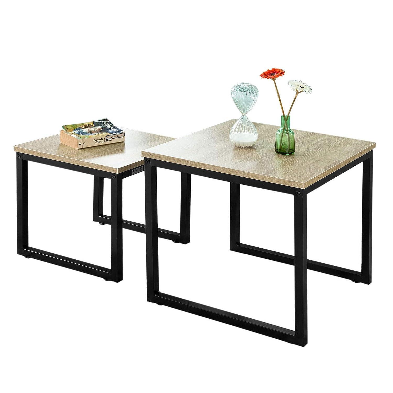 SoBuy® 2PCS Tavolini Set,Tavolino da Divano, Impilabili, Tavolino d'appoggio,FBT42-N Tavolino d' appoggio