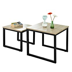 SoBuy FBT42-N Tables Basses Gigognes - Set de 2 - Lot de 2 Tables d'appoint empilables