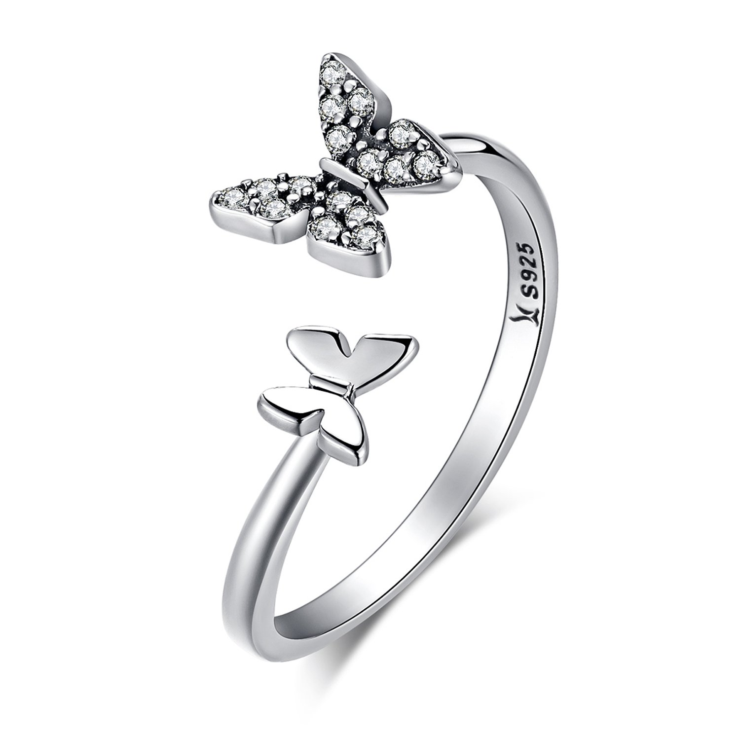 925 Sterling Silver Butterfly White Birthstone CZ Ring Expandable Open Rings Adjustable for Women Jewelry