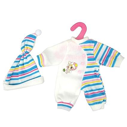 MagiDeal Pijamas Ropa Half Striped Jumpsuits + Sombrero para Muñecas de 14-16 Pulgadas -