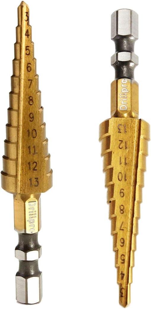 R 3-13MM TIN 1//4 HSS forets etages hex de tige TOOGOO