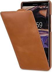 StilGut UltraSlim Case, Custodia Flip Case per Nokia 7 Plus in Vera Pelle, Cognac