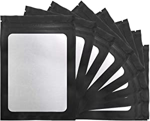 STUs 100 Pack Mylar Bags - 5.5 x 7.9 Inch Resealable Smell Proof Bags with Clear Window Foil Pouch Bag Flat Bag Matte Black