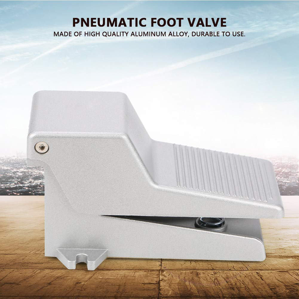 Foot-Switch,G1//4 2 Position 5 Way Pneumatic Momentary Metal Foot Pedal Switch Control Industrial Aluminum Alloy Pedal Valve 250V 10A