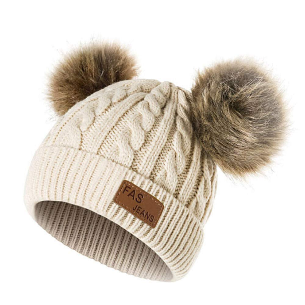 76447f170 Infant Toddler Beanie Woolen Hat 🎅 Pure Color Winter Twist Double Pom Pom  Wool Knitted Cap for 0-3 Years Old