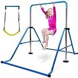 Gymnastics Bar for Kids with Swing Seat Set, Adjustable Height Folding Gymnastic Junior Training Bar Children Monkey…