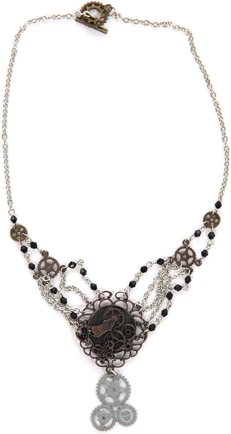 SteamPunk Cosplay Victorian Style Industrial Large Silver Gear Necklace UNUSED