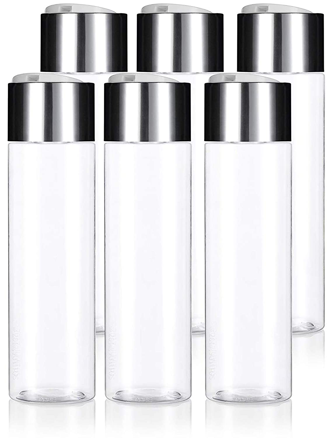 Clear 8 oz 250 ml Professional Cylinder Plastic PET Bottles BPA Free with Wide Silver Disc Cap Lid 6 Pack for Shampoo, Conditioner, Body Wash, Lotion, and More