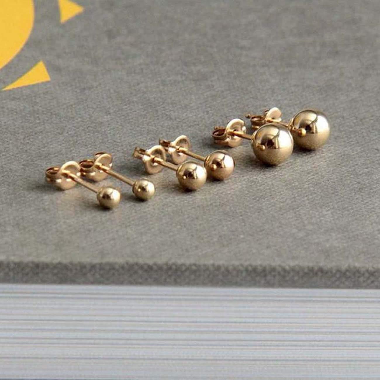 14k Yellow Gold Over.925 Sterling Silver 3mm 5mm Ball Earrings Stud Earrings For Womens /& Girls 4mm
