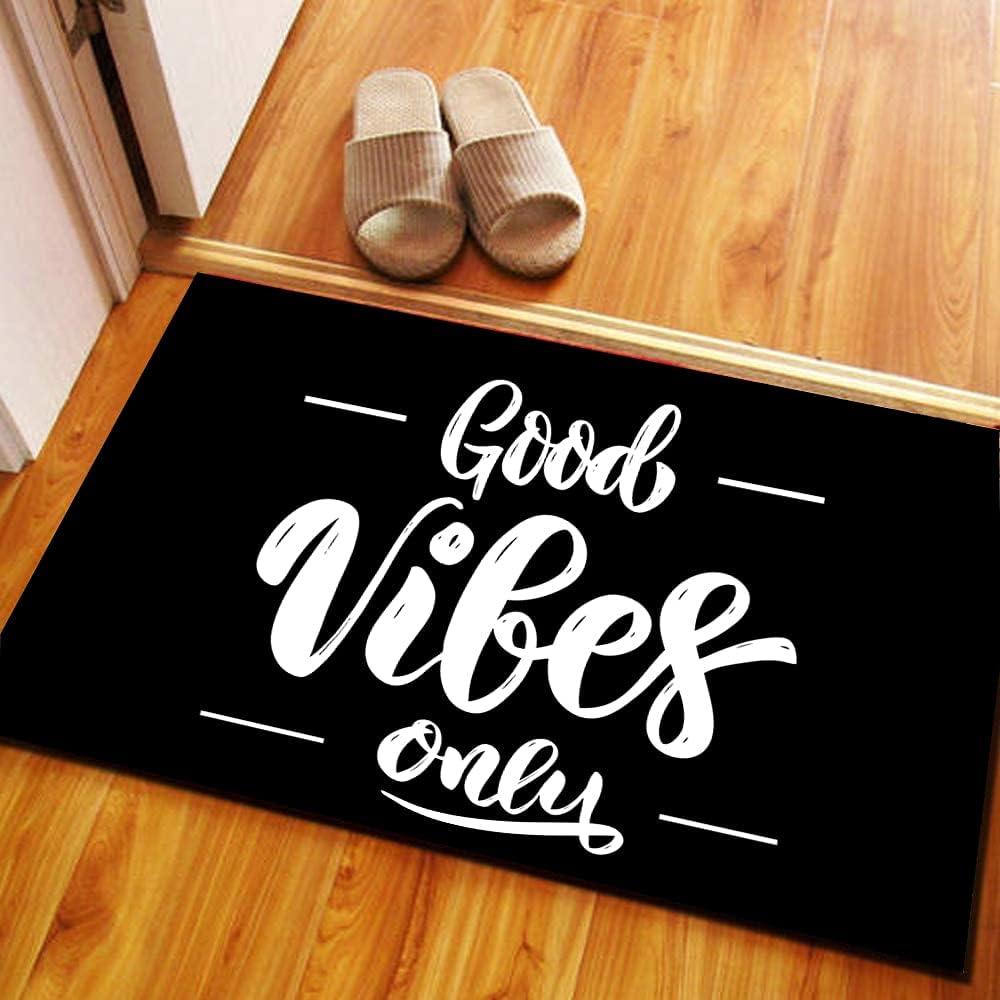 Funny Doormat,Good Vibes Only Door Mat,Garden Outdoor Indoor Entrance Mat Anti-Slip Rubber Front Door Kitchen Home Backing Doormat