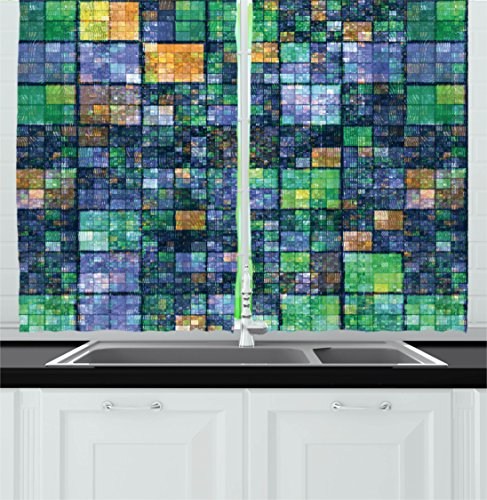 Modern Kitchen Curtains by Ambesonne, Mosaic Geometric Design with Rainbow Colors Patchwork like Design Artwork, Window Drapes 2 Panels Set for Kitchen Cafe, 55 W X 39 L Inches, Blue Yellow and Green