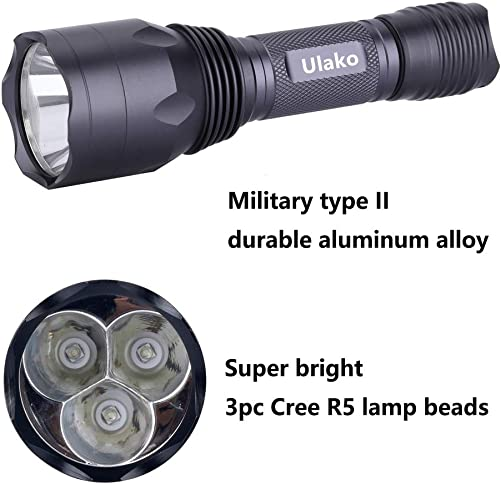 Ulako 3pc Green LED Light 350 Yards 650 Lumen Tactical Flashlight Torch for Coyote Hog Pig Varmint Predator Hunting Scope Mount