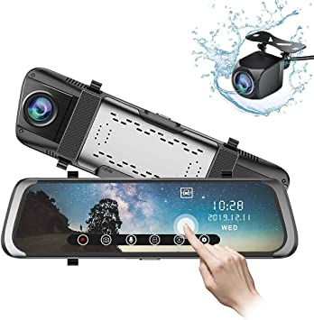 Junsun 10/'/'Stream Media Dual Lens FHD 1080P Dash Camera Car DVR Rearview Mirror